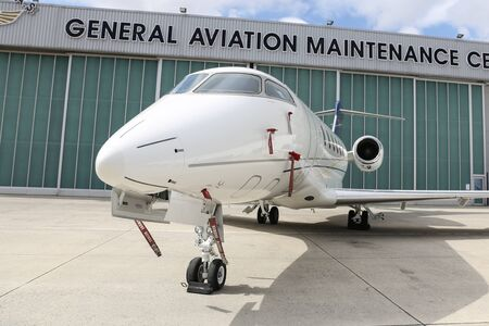 held: ISTANBUL, TURKEY - OCTOBER 08, 2016: Bombardier BD-100-1A10 Challenger 300 showcases in Istanbul Airshow. Airshow held in Istanbul Ataturk Airport and 162 companies from 38 countries are participated.