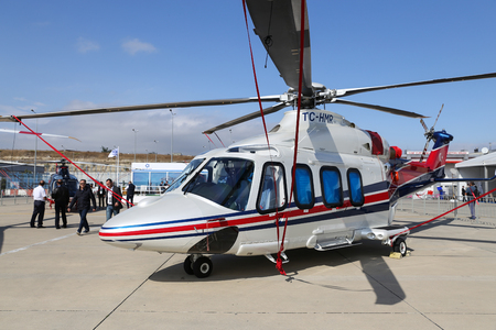 ISTANBUL, TURKEY - OCTOBER 08, 2016: Agusta Westland AW-139 showcases in Istanbul Airshow. Airshow held in Istanbul Ataturk Airport and 162 companies from 38 countries are participated Editorial