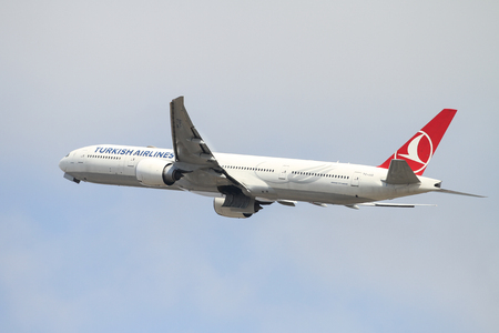 ISTANBUL, TURKEY - OCTOBER 08, 2016: Turkish Airlines Boeing 777-3F2ER (CN 40796) takes off from Istanbul Ataturk Airport. THY is the flag carrier of Turkey with 334 fleet size and 292 destinations