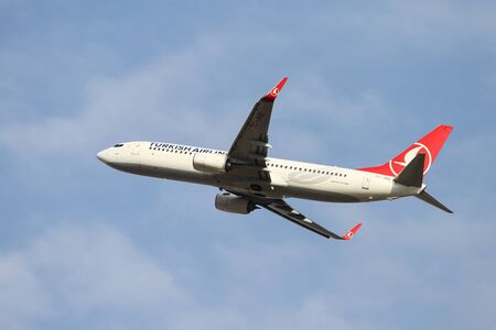 thy: ISTANBUL, TURKEY - OCTOBER 08, 2016: Turkish Airlines Boeing 737-8F2 (CN 42004) takes off from Istanbul Ataturk Airport. THY is the flag carrier of Turkey with 334 fleet size and 292 destinations