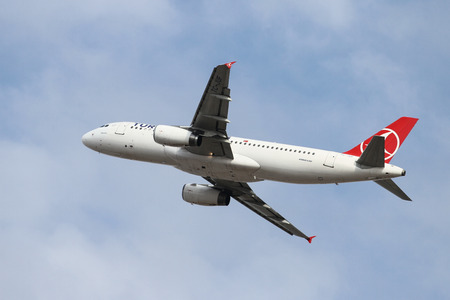 thy: ISTANBUL, TURKEY - OCTOBER 08, 2016: Turkish Airlines Airbus A320-232 (CN 2164) takes off from Istanbul Ataturk Airport. THY is the flag carrier of Turkey with 334 fleet size and 292 destinations