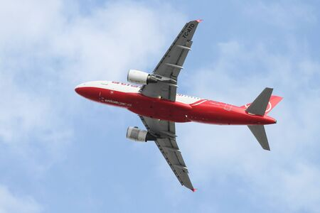 ataturk: ISTANBUL, TURKEY - OCTOBER 08, 2016: AtlasGlobal Airbus A319-112 (CN 1124) takes off from Istanbul Ataturk Airport. AtlasGlobal has 27 fleet size and 41 destinations