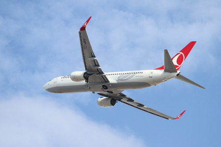 thy: ISTANBUL, TURKEY - OCTOBER 08, 2016: Turkish Airlines Boeing 737-8F2 (CN 40992) takes off from Istanbul Ataturk Airport. THY is the flag carrier of Turkey with 334 fleet size and 292 destinations