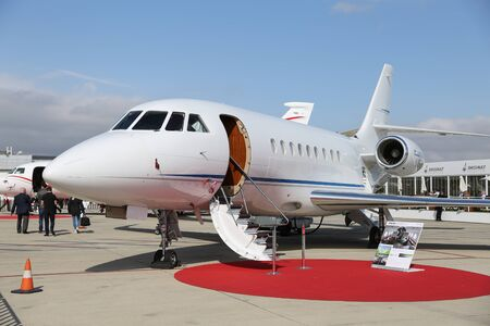 ISTANBUL, TURKEY - OCTOBER 08, 2016: Dassault Falcon 2000LX showcases in Istanbul Airshow. Airshow held in Istanbul Ataturk Airport and 162 companies from 38 countries are participated