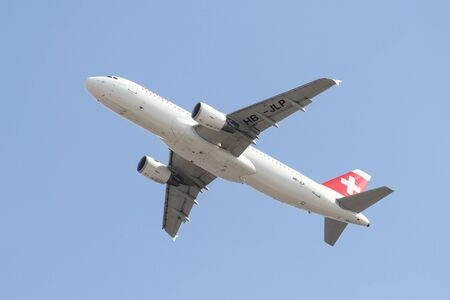 ataturk: ISTANBUL, TURKEY - OCTOBER 08, 2016: Swiss International Air Lines Airbus A320-214 (CN 4618) takes off from Istanbul Ataturk Airport. Swiss has 68 fleet size and 106 destinations