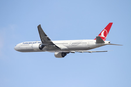 ISTANBUL, TURKEY - OCTOBER 08, 2016: Turkish Airlines Boeing 777-3F2ER (CN 40711) takes off from Istanbul Ataturk Airport. THY is the flag carrier of Turkey with 334 fleet size and 292 destinations Editorial