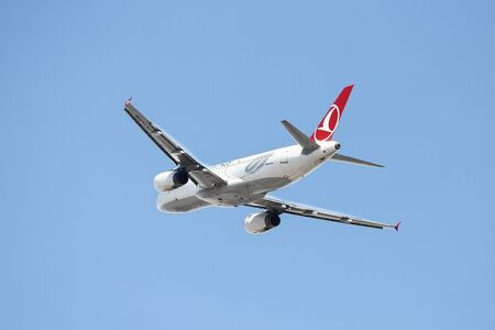 thy: ISTANBUL, TURKEY - OCTOBER 08, 2016: Turkish Airlines Airbus A320-232 (CN 3341) takes off from Istanbul Ataturk Airport. THY is the flag carrier of Turkey with 334 fleet size and 292 destinations