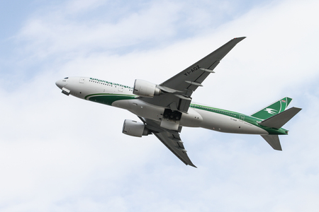 ISTANBUL, TURKEY - OCTOBER 08, 2016: Iraqi Airways Boeing 777-29MLR (CN 40993) takes off from Istanbul Ataturk Airport. Iraqi Airways has 32 fleet size and 38 destinations Editorial