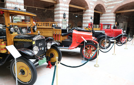 ANKARA, TURKEY - OCTOBER 23, 2016: Antique Cars in Ankara Rahmi M. Koc Museum. Koc museum is dedicated to history of transport, industry and communications Editorial