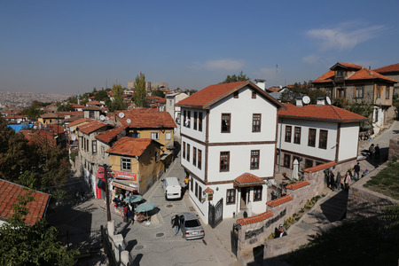 turistic: ANKARA, TURKEY - OCTOBER 22, 2016: Traditional Turkish Houses in Ankara Castle. Ankara Castle is one of the most turistic place in Ankara City.