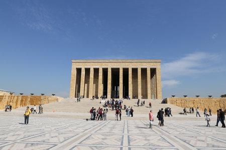ataturk: ANKARA, TURKEY - OCTOBER 22, 2016: People visit Anitkabir mausoleum of Mustafa Kemal Ataturk. More than 5 million people visit Anitkabir every year. Editorial