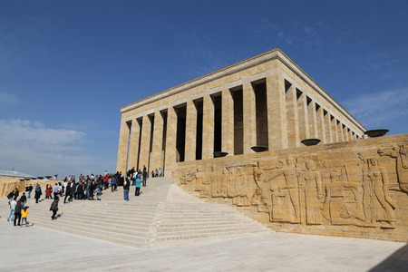 building monumental: ANKARA, TURKEY - OCTOBER 22, 2016: People visit Anitkabir mausoleum of Mustafa Kemal Ataturk. More than 5 million people visit Anitkabir every year. Editorial