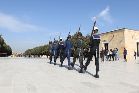 ANKARA, TURKEY - OCTOBER 22, 2016: Soldiers march for changing of the guard ceremony in Anitkabir. Anıtkabir is the mausoleum of Mustafa Kemal Ataturk, the founder and first President of the Republic of Turkey. Editorial