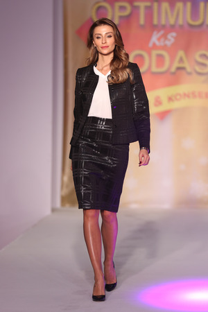 ISTANBUL, TURKEY - DECEMBER 12, 2016: Model Ozge Ulusoy showcases creations in stores in Optimum Mall during Optimum Mall Fashion Show Editorial