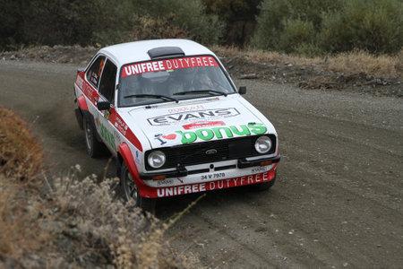 corum: CORUM, TURKEY - OCTOBER 29, 2016: Engin Kap drives Ford Escort MK2 of Bonus Unifree Parkur Racing Team in Corum Hitit Rally Editorial