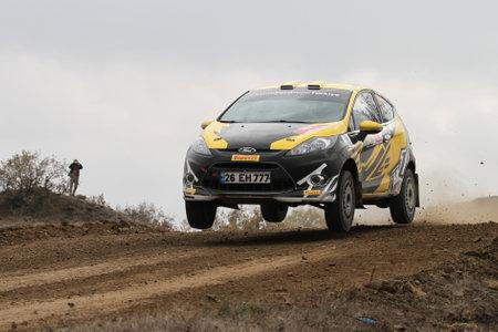 corum: CORUM, TURKEY - OCTOBER 29, 2016: Can Altınok drives Ford Fiesta R2 in Corum Hitit Rally
