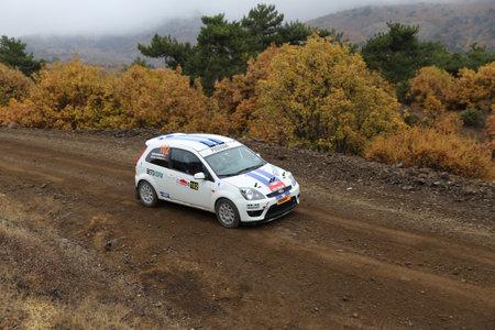 corum: CORUM, TURKEY - OCTOBER 29, 2016: Melih Evranli drives Ford Fiesta ST in Corum Hitit Rally Editorial