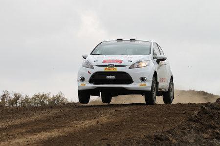 corum: CORUM, TURKEY - OCTOBER 29, 2016: Tansel Karasu drives Ford Fiesta R2 in Corum Hitit Rally