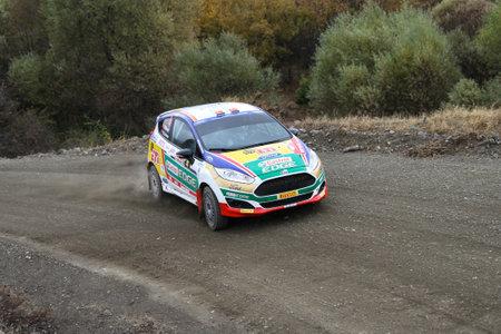 corum: CORUM, TURKEY - OCTOBER 29, 2016: Bugra Banaz drives Ford Fiesta R2T of Castrol Ford Team Turkiye in Corum Hitit Rally