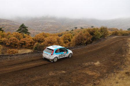 corum: CORUM, TURKEY - OCTOBER 29, 2016: Cem Alakoc drives Ford Fiesta ST in Corum Hitit Rally