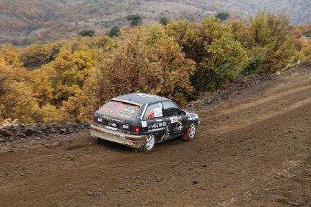 corum: CORUM, TURKEY - OCTOBER 29, 2016: Faruk Guzelcaliskan drives Opel Astra GTI in Corum Hitit Rally
