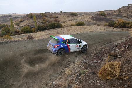 CORUM, TURKEY - OCTOBER 29, 2016: Yagiz Avci drives Peugeot 208 T16 R5 of Neomotorspor Team in Corum Hitit Rally