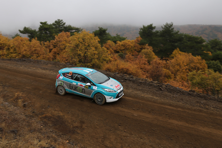 corum: CORUM, TURKEY - OCTOBER 29, 2016: Burak Baslik drives Ford Fiesta R2 in Corum Hitit Rally Editorial