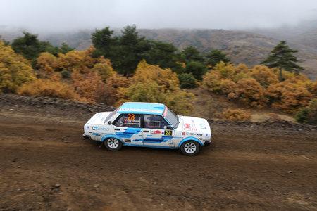 corum: CORUM, TURKEY - OCTOBER 29, 2016: Gercek Sunman drives Fiat 131 in Corum Hitit Rally