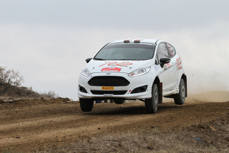 corum: CORUM, TURKEY - OCTOBER 29, 2016: Eytan Halfon drives Ford Fiesta R2T in Corum Hitit Rally Editorial