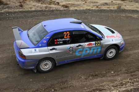 corum: CORUM, TURKEY - OCTOBER 29, 2016: Simin Bicakcioglu drives Mitsubishi Lancer Evo IX of Neo Motorspor Team in Corum Hitit Rally