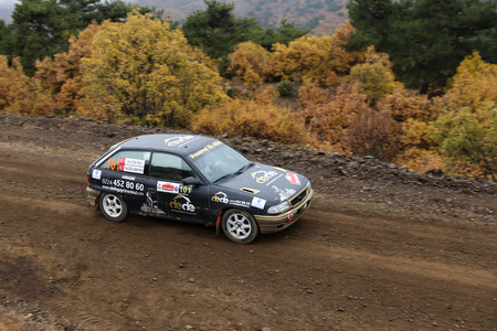 CORUM, TURKEY - OCTOBER 29, 2016: Faruk Guzelcaliskan drives Opel Astra GTI in Corum Hitit Rally