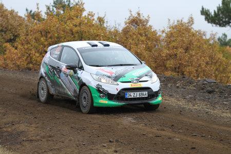 corum: CORUM, TURKEY - OCTOBER 29, 2016: Tarik Gokcen drives Ford Fiesta R2 in Corum Hitit Rally