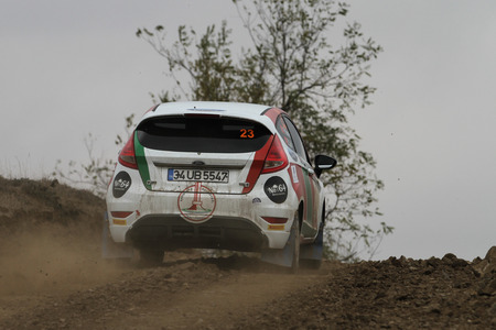 corum: CORUM, TURKEY - OCTOBER 29, 2016: Firat Yukselir drives Ford Fiesta R1 in Corum Hitit Rally