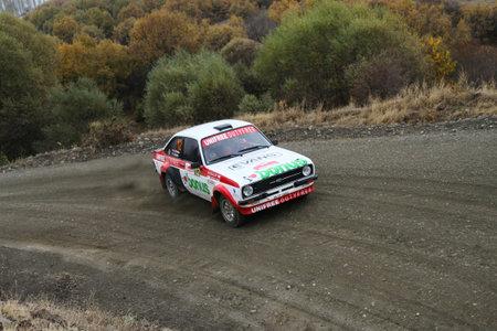 corum: CORUM, TURKEY - OCTOBER 29, 2016: Burak Turkkan drives Ford Escort MK2 of Parkur Historic Team in Corum Hitit Rally