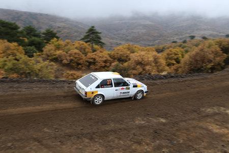 corum: CORUM, TURKEY - OCTOBER 29, 2016: Yilmaz Koprucu drives Opel Kadett D in Corum Hitit Rally