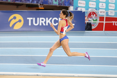 ISTANBUL, TURKEY - FEBRUARY 12, 2017: Athlete Katarina Sekulic running during Balkan Junior Indoor Championships
