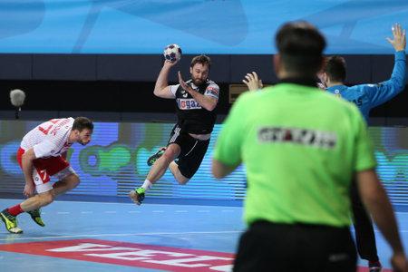 KOCAELI, TURKEY - FEBRUARY 11, 2017: Players in action during VELUX EHF Champions League handball match between Besiktas MOGAZ HT and Dinamo Bucuresti.