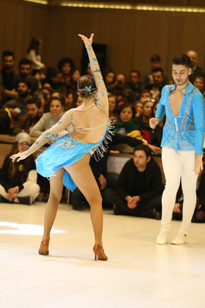 ISTANBUL, TURKEY - JANUARY 21, 2017: An unidentified couple dancing salsa during first stage of Turkish dance sport federation club league. Editorial