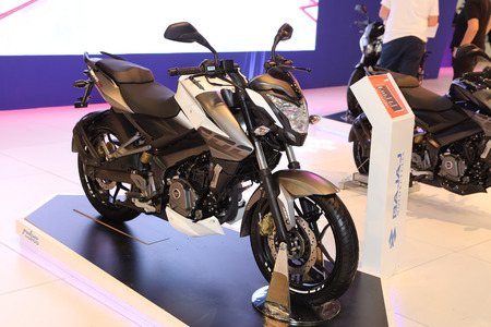 ISTANBUL, TURKEY - FEBRUARY 25, 2017: Bajaj Pulsar NS200 on display at Motobike Istanbul in Istanbul Exhibition Center