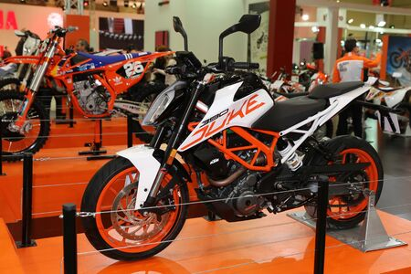 motobike: ISTANBUL, TURKEY - FEBRUARY 25, 2017: KTM 390 Duke on display at Motobike Istanbul in Istanbul Exhibition Center