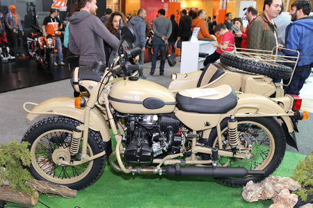 motobike: ISTANBUL, TURKEY - FEBRUARY 25, 2017: Ural motorcycle on display at Motobike Istanbul in Istanbul Exhibition Center