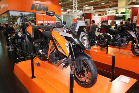 motobike: ISTANBUL, TURKEY - FEBRUARY 25, 2017: KTM 1290 Super Duke R on display at Motobike Istanbul in Istanbul Exhibition Center Editorial