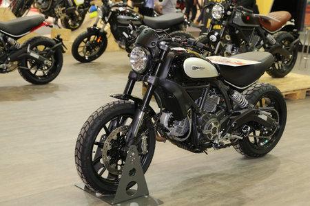 scrambler: ISTANBUL, TURKEY - FEBRUARY 25, 2017: Ducati Scrambler on display at Motobike Istanbul in Istanbul Exhibition Center
