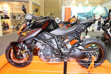 ISTANBUL, TURKEY - FEBRUARY 25, 2017: KTM 1290 Super Duke R on display at Motobike Istanbul in Istanbul Exhibition Center Editorial