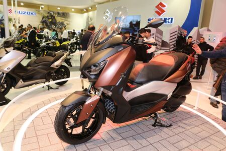 motobike: ISTANBUL, TURKEY - FEBRUARY 25, 2017: Yamaha X-Max on display at Motobike Istanbul in Istanbul Exhibition Center Editorial