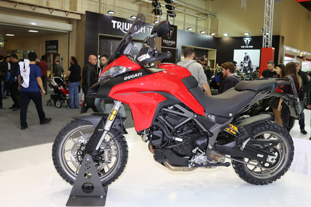 motobike: ISTANBUL, TURKEY - FEBRUARY 25, 2017: Ducati Multistrada 950 on display at Motobike Istanbul in Istanbul Exhibition Center Editorial