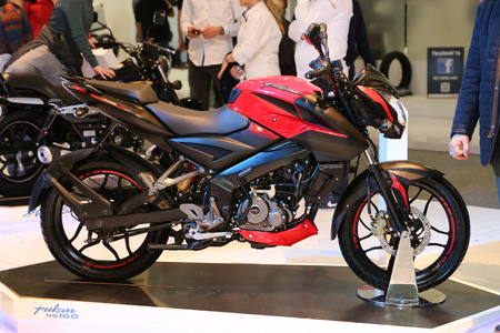 ISTANBUL, TURKEY - FEBRUARY 25, 2017: Bajaj Pulsar NS160 on display at Motobike Istanbul in Istanbul Exhibition Center