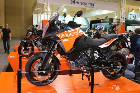 motobike: ISTANBUL, TURKEY - FEBRUARY 25, 2017: KTM 1290 Super Adventure on display at Motobike Istanbul in Istanbul Exhibition Center Editorial