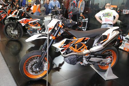 ISTANBUL, TURKEY - FEBRUARY 25, 2017: KTM 690 SMC on display at Motobike Istanbul in Istanbul Exhibition Center Editorial