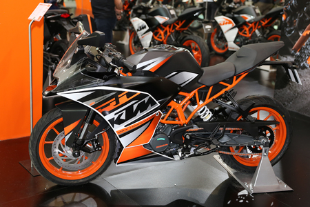 ISTANBUL, TURKEY - FEBRUARY 25, 2017: KTM motorcycle on display at Motobike Istanbul in Istanbul Exhibition Center